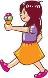 Girl with ice cream. Children  illustration of small girl with ice cream Stock Image