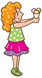 Girl with ice cream. Children  illustration of small girl with ice cream Stock Images