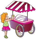 Girl with ice cream. Children  illustration of small girl with ice cream near the ice-cream truck Royalty Free Stock Photos