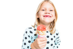 Girl with an ice cream cone Royalty Free Stock Images