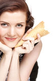 Girl with  ice-cream, isolated Royalty Free Stock Image