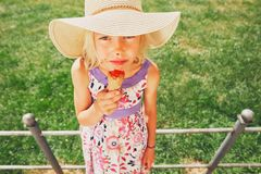 Girl with ice cream. Royalty Free Stock Image