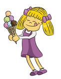 Girl with ice-cream, vector. Blonde girl in violet dress eating an ice-cream, illustrated, vector Stock Image