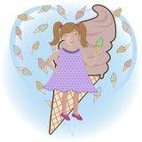 Girl with ice-cream Royalty Free Stock Photo