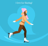 Girl Ice Figure Skating. Cute Girl loves Ice Skating Vector Illustration Royalty Free Stock Image