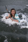 Girl in ice hold axe back Royalty Free Stock Image