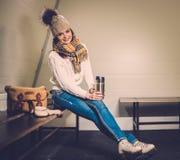 Girl in ice rink locker room Stock Image