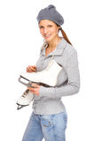 Girl with ice skate Stock Photo