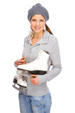 Girl with ice skate Stock Photography