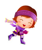 Girl on ice skate. The girl is riding a ice skate Royalty Free Stock Image