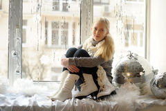 The girl with ice skates Royalty Free Stock Images