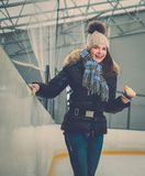 Girl on ice skating rink Royalty Free Stock Photos