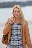 Girl with icecream royalty free stock images