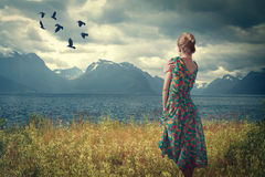 Girl in Iceland is in a dress on the shore of the fjord, Royalty Free Stock Photos