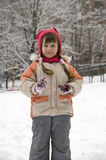 Girl with icicles. Portrait of a little girl with icicle in his hand Stock Photos
