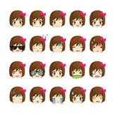 Girl icons set. Stock Image