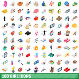 100 girl icons set, isometric 3d style. 100 girl icons set in isometric 3d style for any design vector illustration Royalty Free Stock Photos