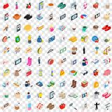 100 girl icons set, isometric 3d style Royalty Free Stock Photo