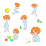 Girl Icons With Toys Royalty Free Stock Photos