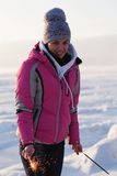 Girl in icy landscape Stock Photos