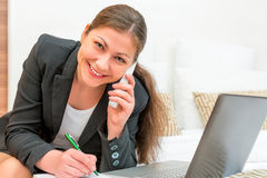 Girl ideally built a successful business Stock Photo
