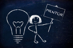 Girl with ideas and knowledge: mentor. Knowledgeable girl holding a sign saying mentor Stock Images