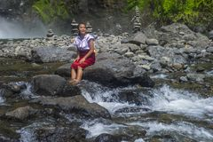 Girl from Ifugao ethnic minority in the Philippines. BATAD, PHILIPPINES - MAY 02 : Girl from Ifugao Minority near a waterfall in Batad the Philippines on May 02 Stock Images