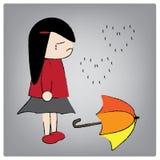 Girl. Illustration girl crying in the rain royalty free illustration