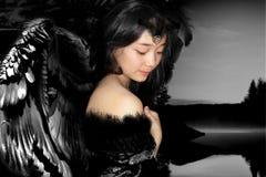 Girl in image black swan Stock Image