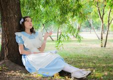 Girl in the image of the heroine of a fairy sitting under a tree. Girl in the image of a character from a fairy tale is sitting under a tree with a book Stock Photos