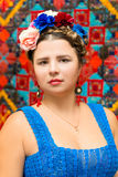 Girl in the image of Frida Kahlo Stock Photos