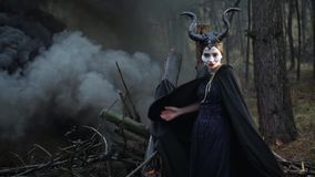 The girl in the image of Maleficent cloak caught on the branch