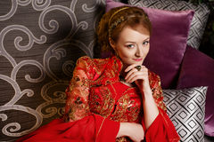 Girl at the image of Turkish sultan's wife Stock Photo