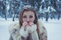 Girl In A Bright Fur Coat With Flowing Hair And Snow On Her Hair Put Her Hands To Her Face Against The Background Of The Winter Royalty Free Stock Photography