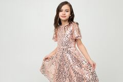 Girl In A Dress For The Holiday Posing On A White Studio Background Royalty Free Stock Photography