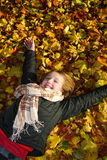 Girl In A Fall Park Royalty Free Stock Images