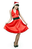 Girl In A Red Dress And Hat Santa Royalty Free Stock Photo