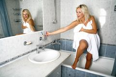 Girl In Bathroom Stock Image