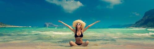 Free Girl In Black Bikini And With Hat On Balos Beach Stock Photos - 127473953
