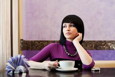 Girl In Cafe Royalty Free Stock Image