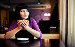 Girl In Cafe Royalty Free Stock Photography
