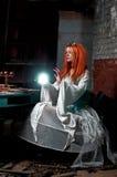 Girl In Dark Room Stock Photography