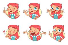 Free Girl In Different Situations. Funny Grimace Royalty Free Stock Images - 135537509