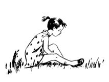 Girl In Dress Decided To Sit On The Grass Royalty Free Stock Photography