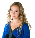 Girl In Dress Of Blue And Black Colors Stock Photos