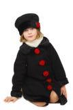 Girl In Elegantkniting Black Coat Royalty Free Stock Photo