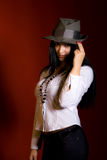 Girl In Grey Hat Stock Images