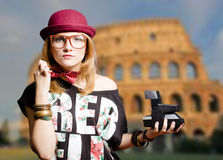 Girl In Hipster Glasses Holding Polaroid On Royalty Free Stock Photo