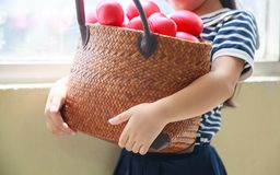 Free Girl In Navy Blue Striped Dress Handing Basket Of Red Hearts Represents Helping Hands, Family Support, Morale, Purity, Innocence, Royalty Free Stock Photography - 134573967