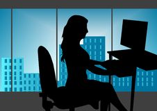 Girl In Office Stock Images